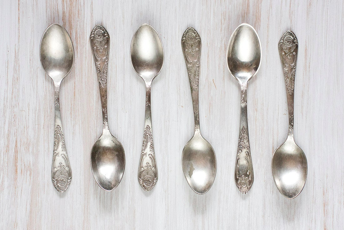6 Vintage USSR Silver Plated Spoons, Russian. Serving Spoon collection, ohtteam, Mid century,  wedding, Collectibles, Crown Spoon - RaffaelloVintage