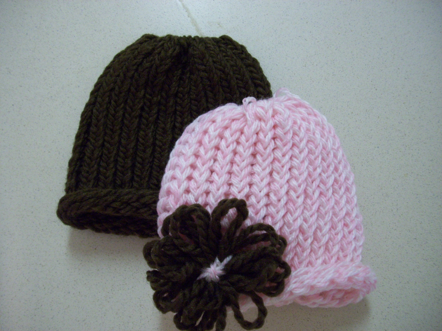 Baby Hat Set Pink and Brown Flower