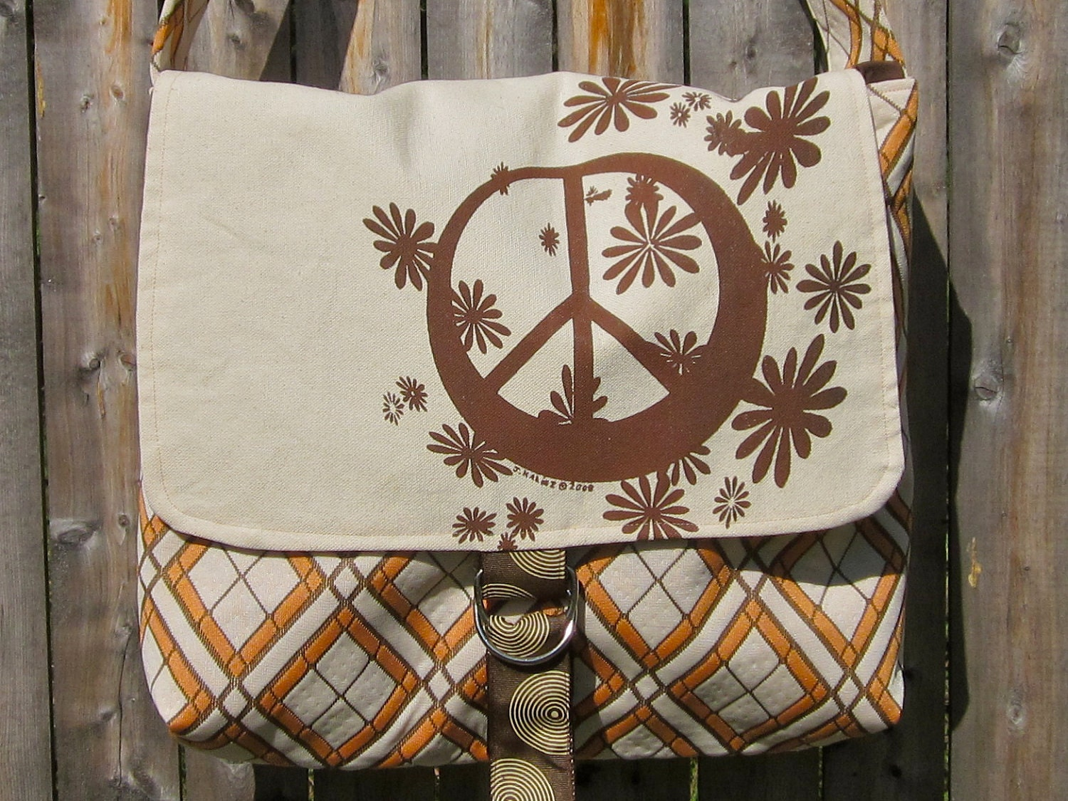 Peace Sign Canvas Messenger Bag in Retro Cream, Brown, and Tangerine