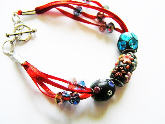 Unique Kashmiri Beaded Multiple Strand Bracelet on Red Ribbon with Crystal Bead Accents