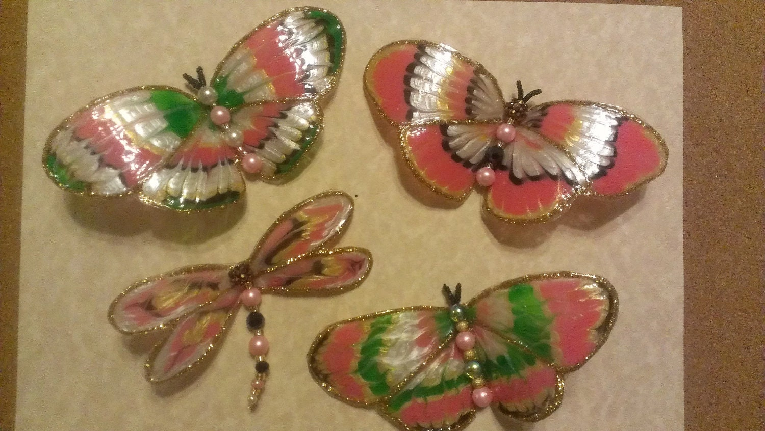 Pink and Pearl Butterflies Set of 4 ,hand painted