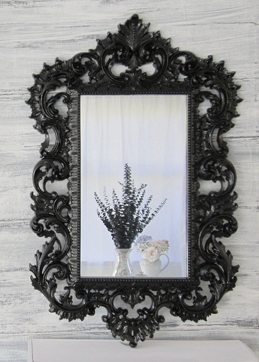 Hollywood regency mirror for sale large syroco by for Large black framed mirror