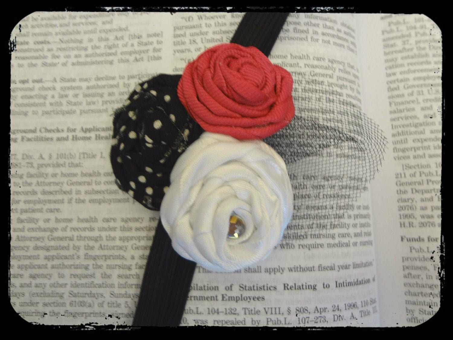 Childrens Headband - Fabric and Ribbon Rosettes - Clear Jewel - Fuschia, White, Black and White Polka Dot on Black Elastic Headband