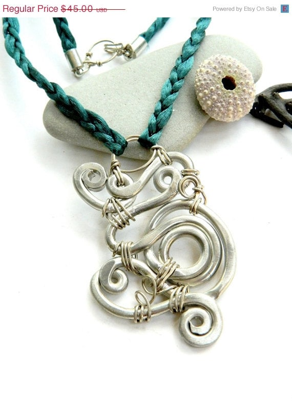 SALE Looped Spiral Pendant on Teal Cord Necklace (P1188)