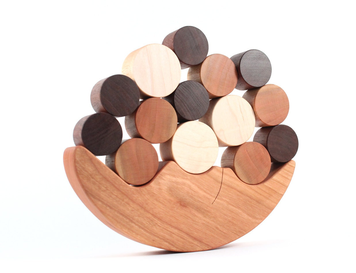wooden balancing toy - natural wood game, colorful balance and stacking toy, homegrown organic finish, moon and stars, educational play - SmilingTreeToys