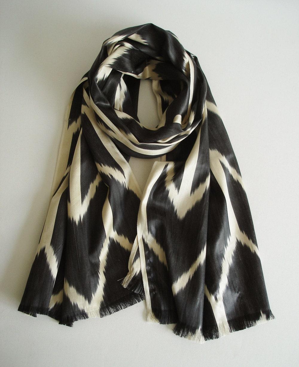 Sukan / Handwoven ikat Silk Scarf, Modern, Bohemian, Gray, Dark Gray, Beige Color