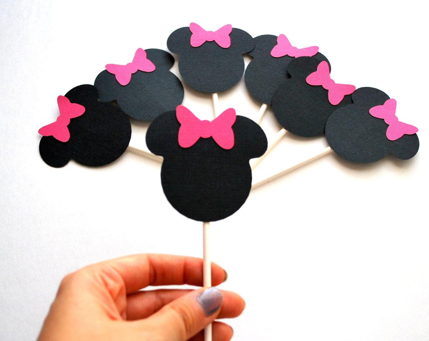 12 Minnie Mouse cupcake toppers in black with hot pink bow (2.5 inches wide) A255
