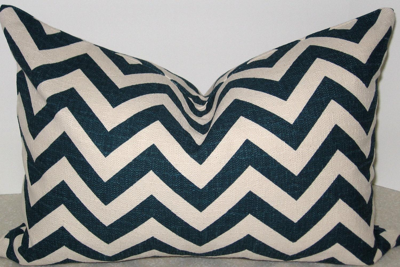 20 x 14 Ikat Zig Zag Lumbar pillow cover Sapphire Blue