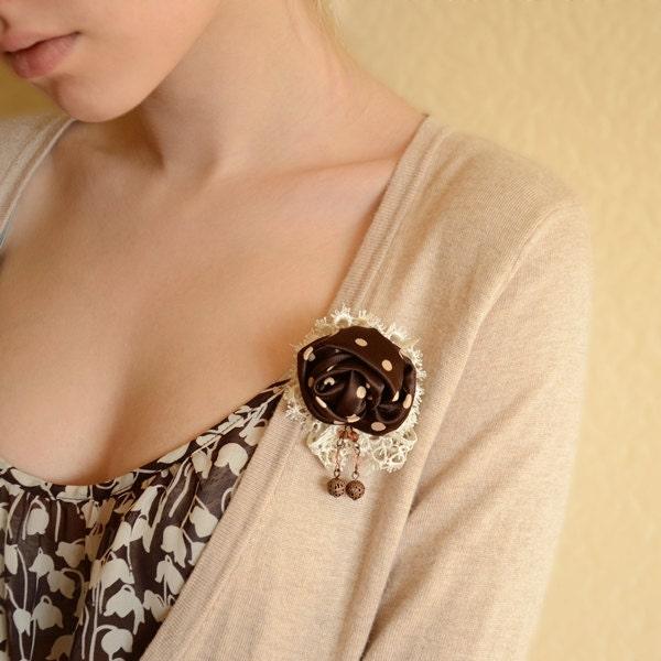 Brooch fabric Rose Polka Dots Romantic - IrenkaR