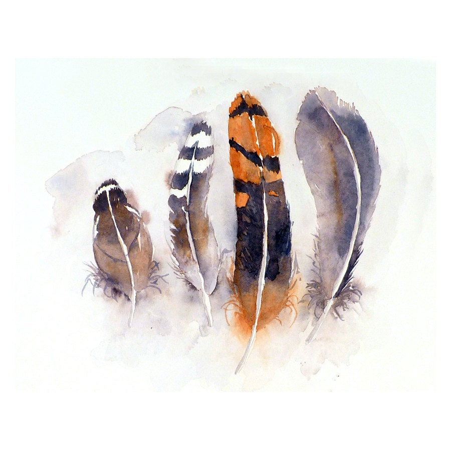 Feather Art Original Painting Watercolor - Bird Feather Painting, Orange and Grey Feathers, Nature, Tribal Feather Art  - Home Decor - LaBerge