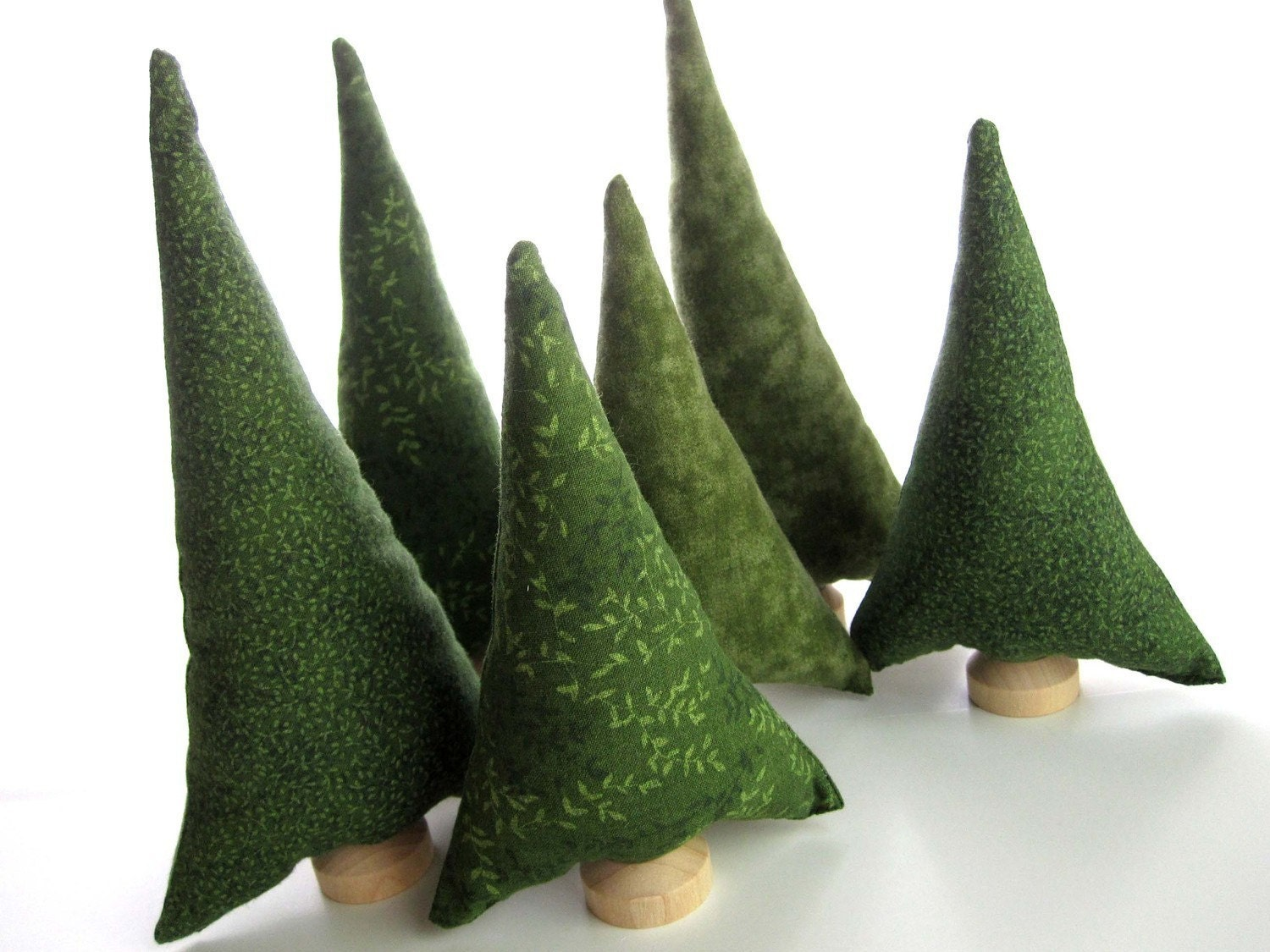 Evergreen Trees Tiny Forest - Natural Evergreen Pine tiny forest of 6 Christmas tree plush toy fabric trees - QuietudeQuilts