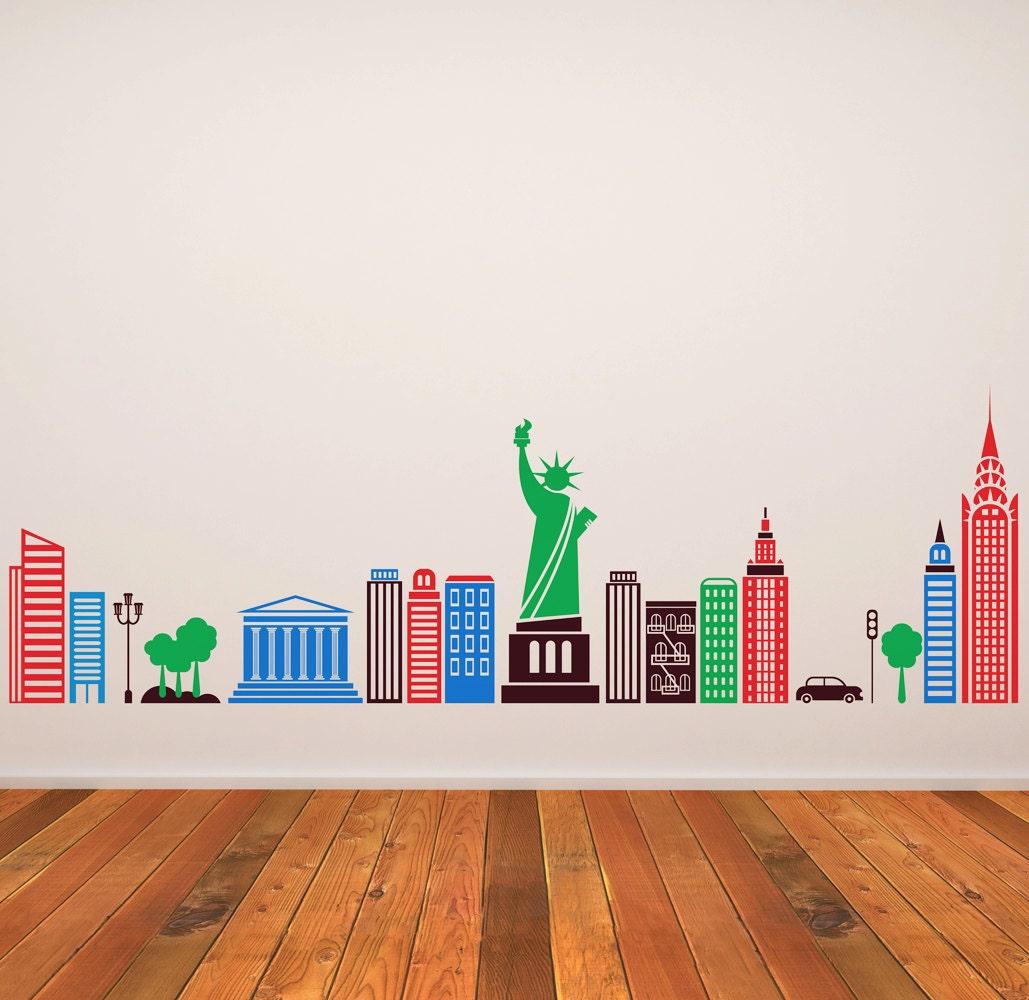 Wall decal kids children murals new york city skyline 20 5 x 63