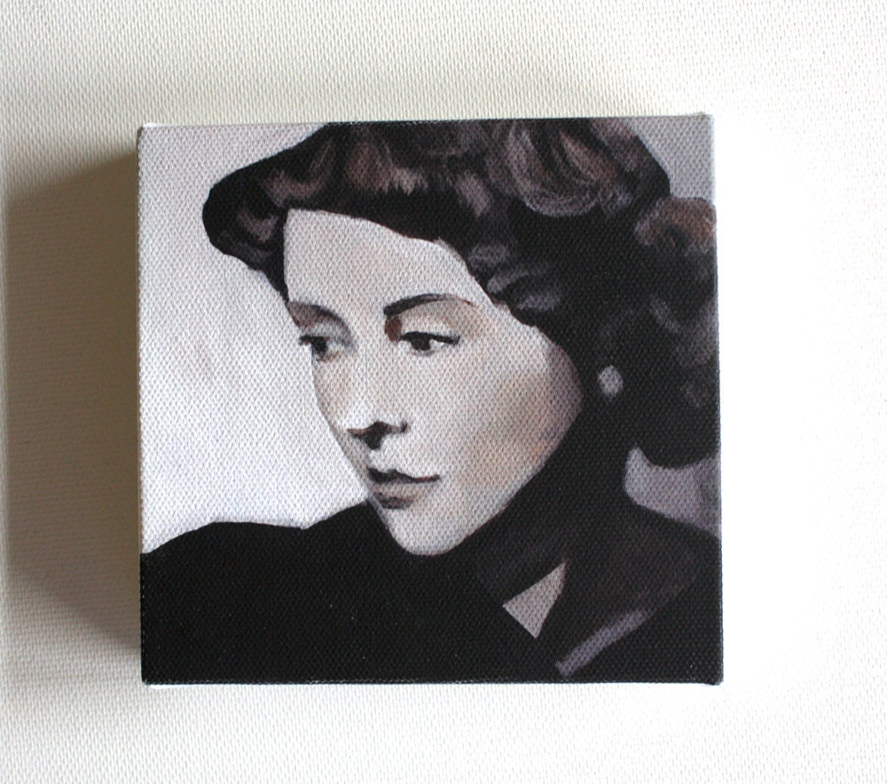Vintage lady / tiny canvas  print