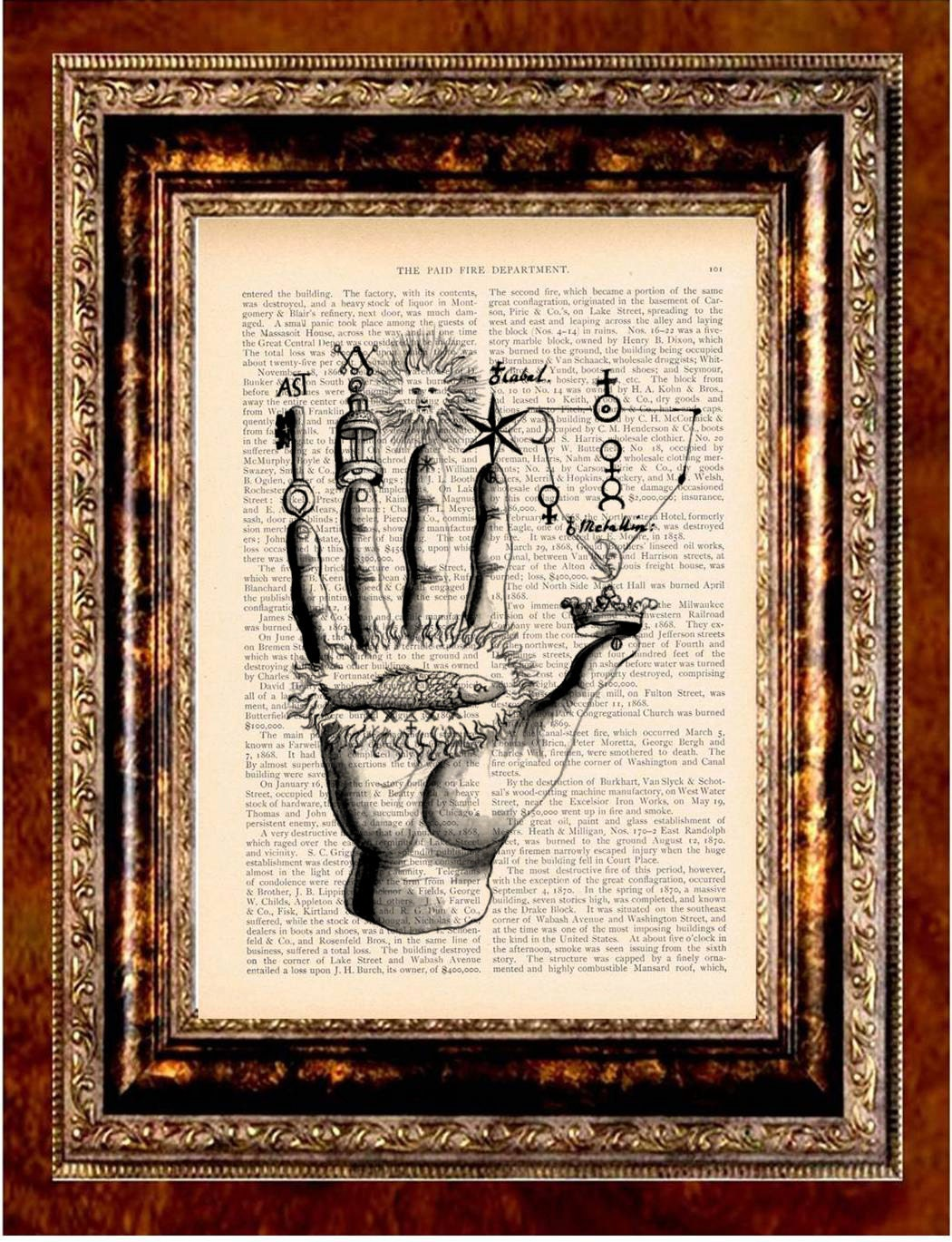 ALCHEMY HAND Vintage Art Print Antique 1800's Book Page or Dictionary Page Upcycled Recycled - newdayprints