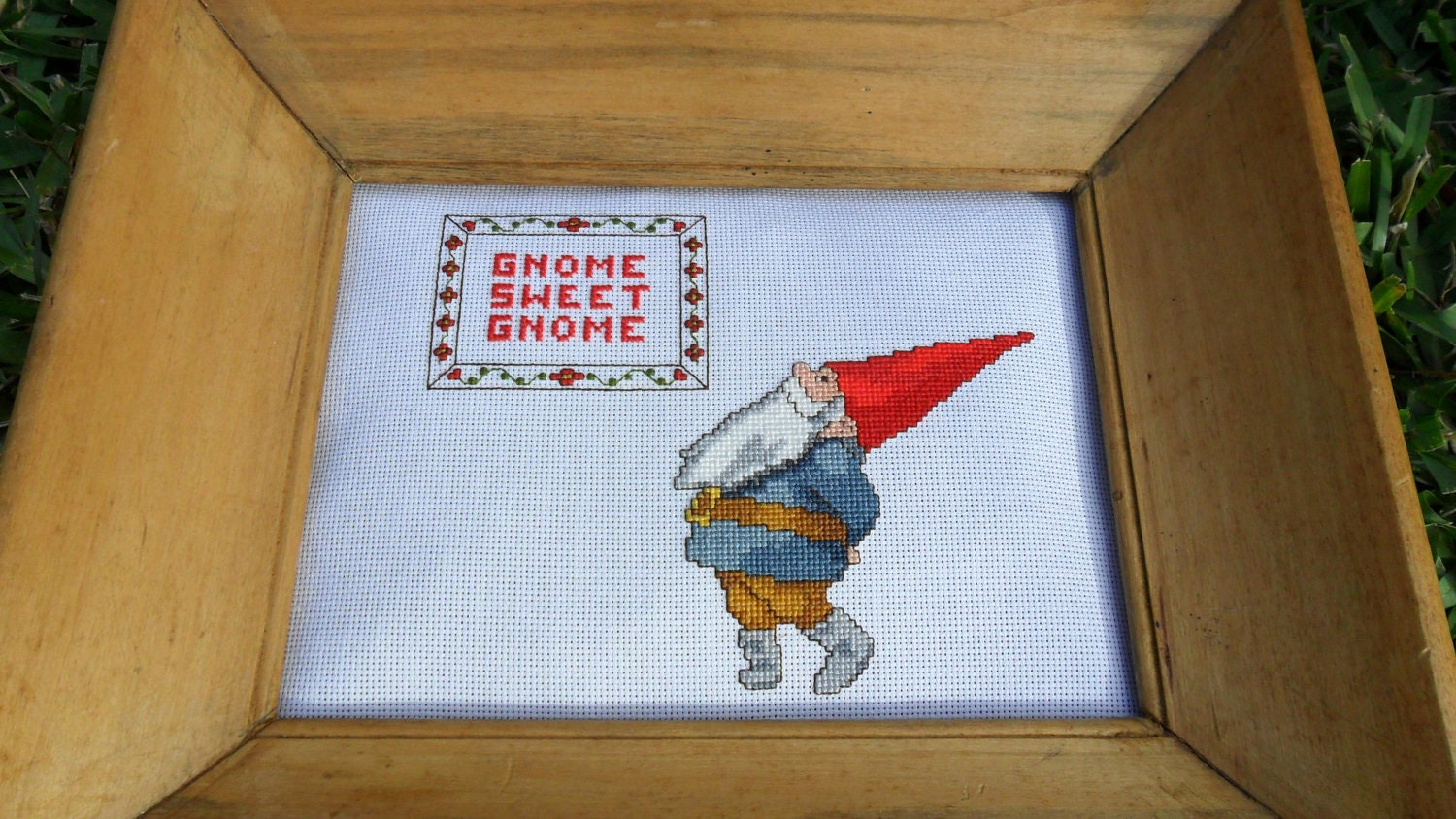Gnome Sweet Gnome cross stitch art