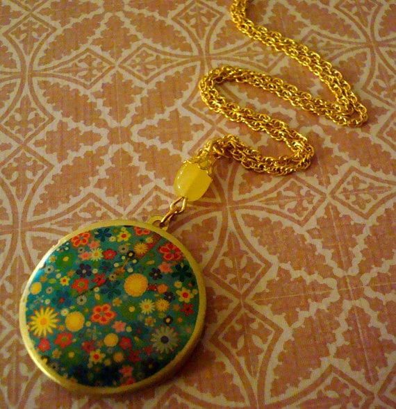 Art Locket Necklace-Flower Power-h201