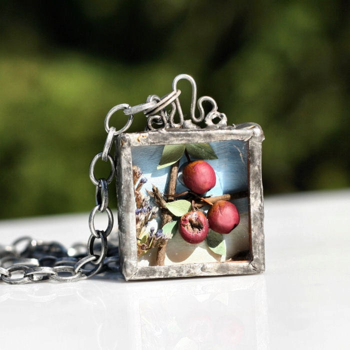 Miniature Red Apples Diorama Necklace Soldered