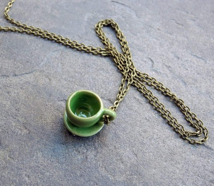 Free Shipping Green Tea Cup and Saucer on Bronze Chain Necklace Ceramic Miniature Plate Tea Coffee Free Shipping Etsy