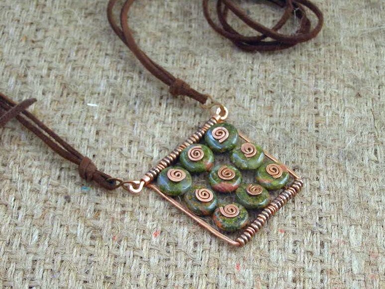Boho pendant Pink Salmon Green UNAKITE casual pendant  9 nine square copper spiral swirl made in Israel