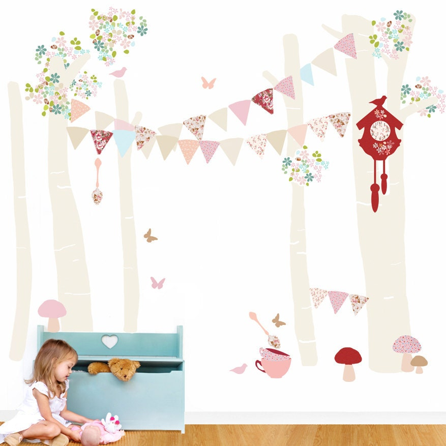 Girls Fabric Decal Wall Stickers - Forest Scene