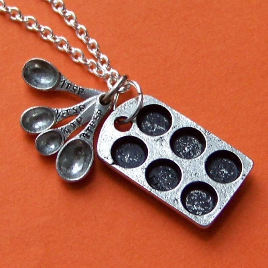 The Original Cupcake Lover Charm Necklace with Antiqued Pewter Baking Tin and Miniature Measuring Spoons and Silver Chain