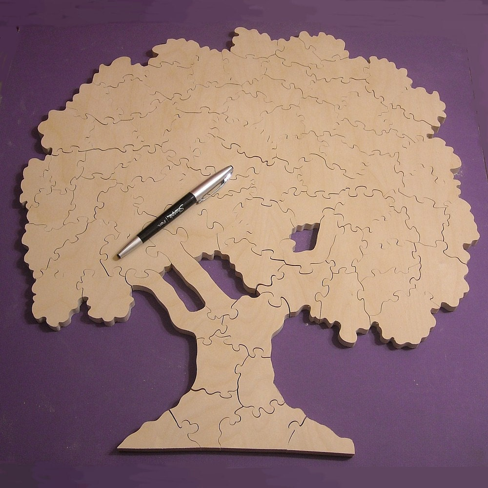Wedding Guest Book Tree Puzzle - Unfinished Wooden Puzzle - 75 Pieces