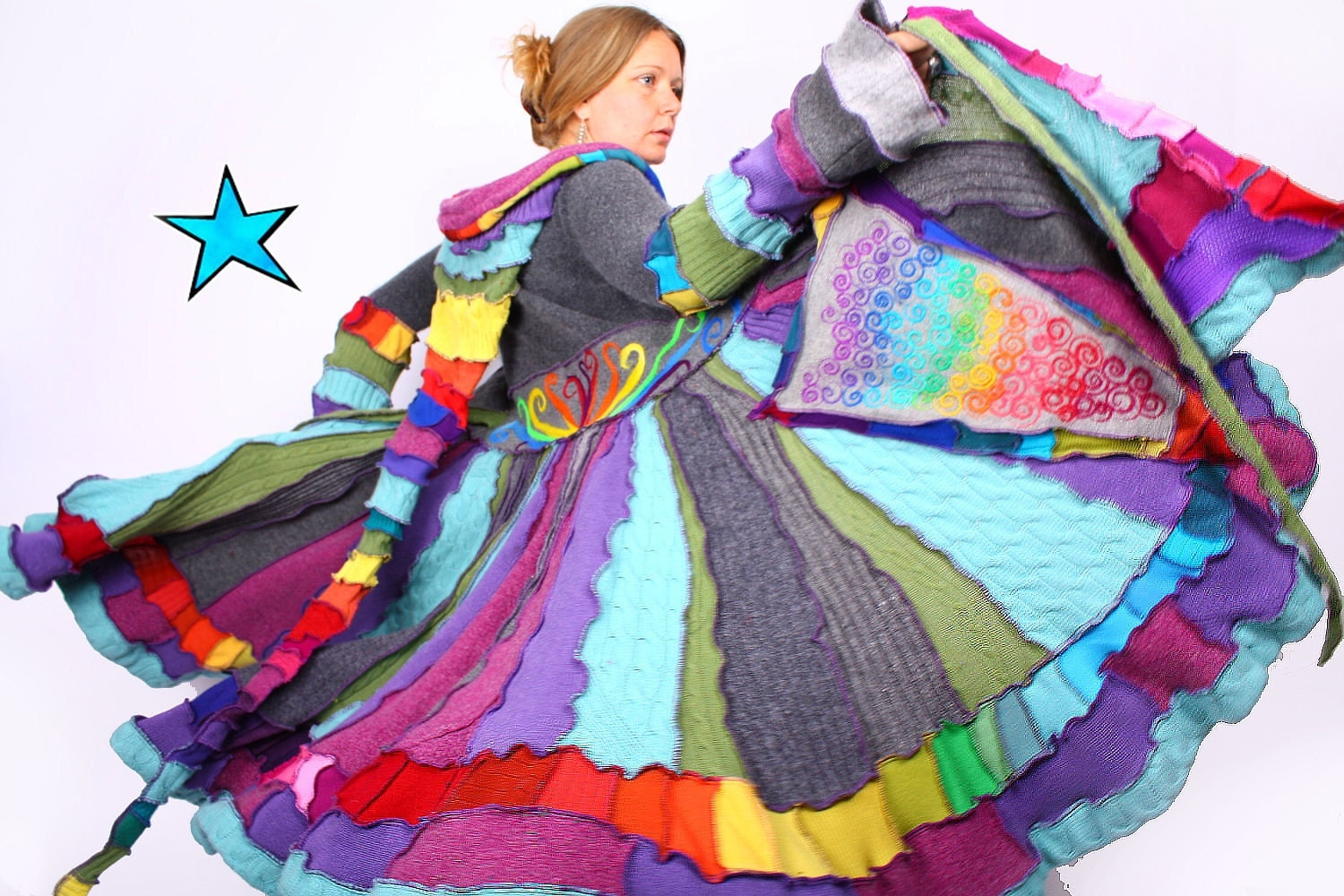 Recyled Sweater Coat - Rainbow Twirl - Tutorial-Pattern