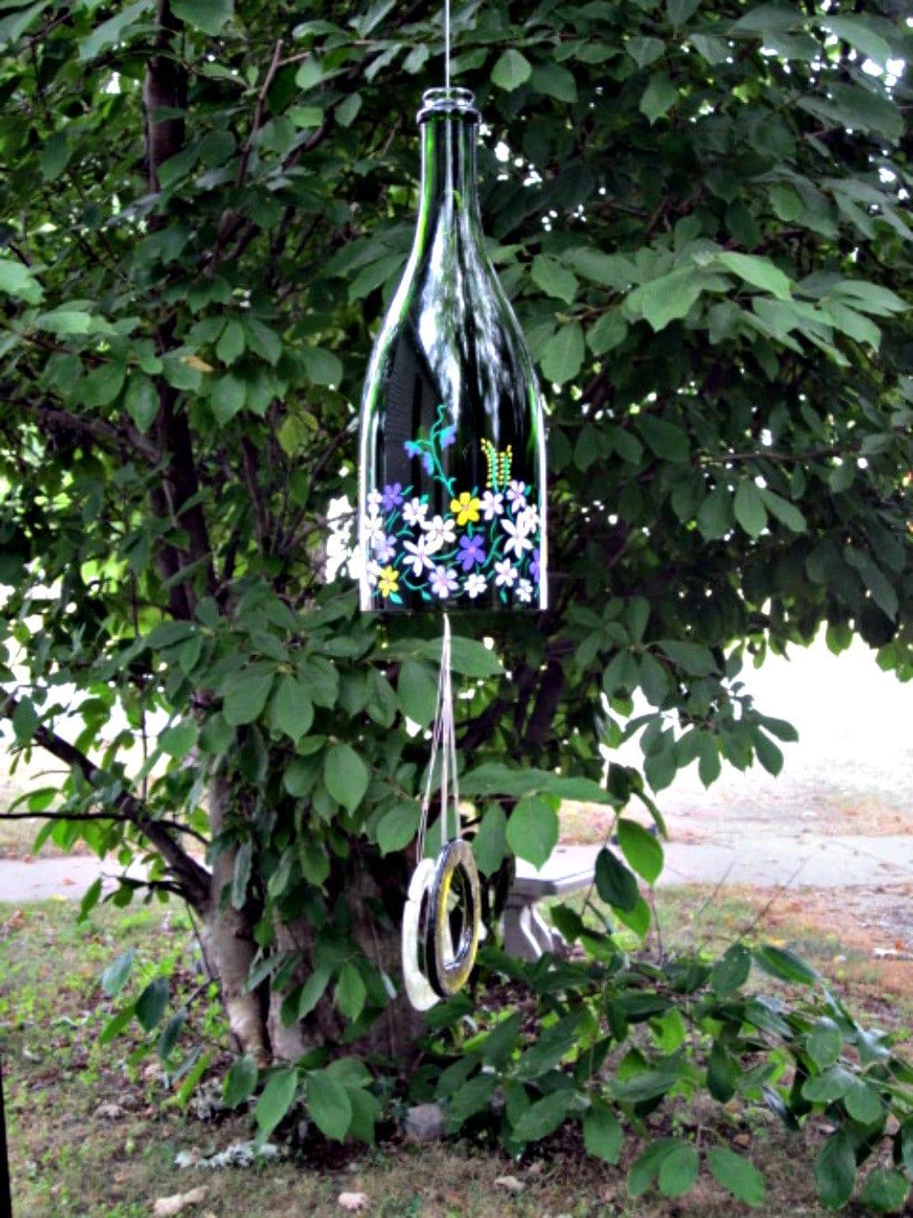 wine bottle wind chime crafty pinterest