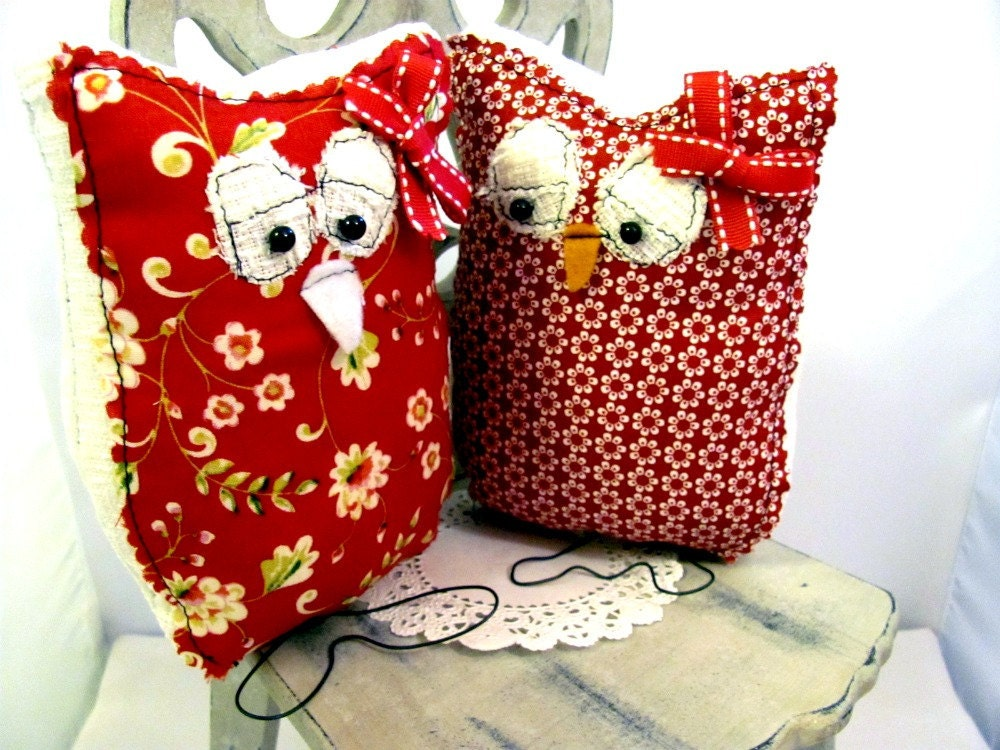 Holiday Owl,Handmade Designer Owl, Red Floral Owl, Home Decor