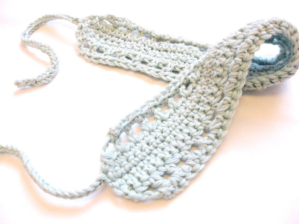 crochet hair band or hair wrap with knit ties for girls, women, and teens - pale glacier blue, soft, all natural fibers, ready to ship - BaruchsLullaby