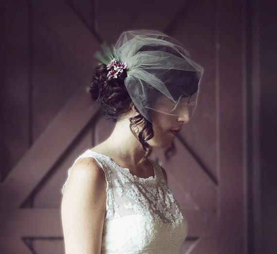 What kind of hairstyle/veil would you wear with this dress? :  wedding hair headpiece veil Il 570xN.346507814 Wedding Veil, Birdcage Veil, Tulle Blusher, White, Ivory, Champagne - LORNA