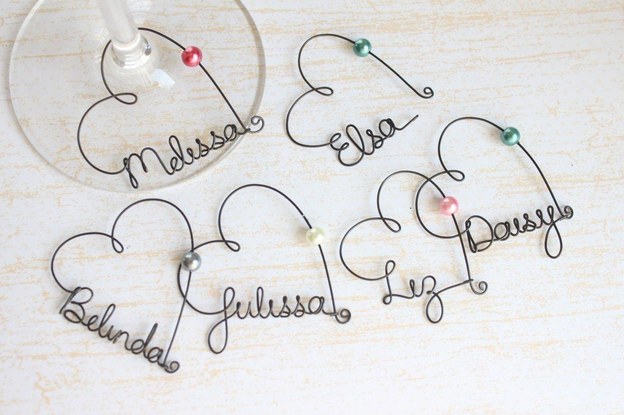 Personalized Wine Glass Charms - Wedding Favor Wine Glass Charms,  Bridal Party Wine Glass Charms, Wedding Favor, Rustic Wedding Favor - kraze4paper