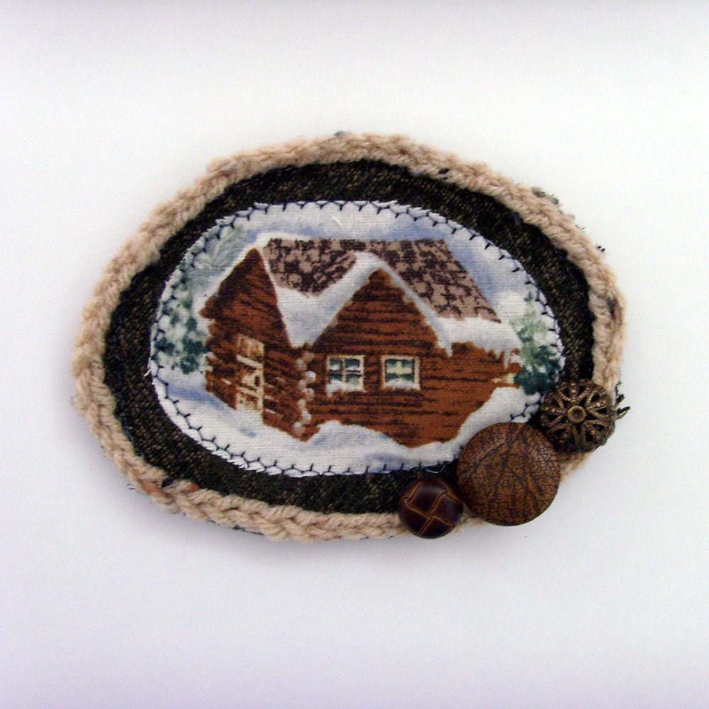Mountain Log Cabin Brooch - Lapel Pin // White Snow - Brown Log Cabin - Green Pine Trees - Winter // Layered Textiles and Trims