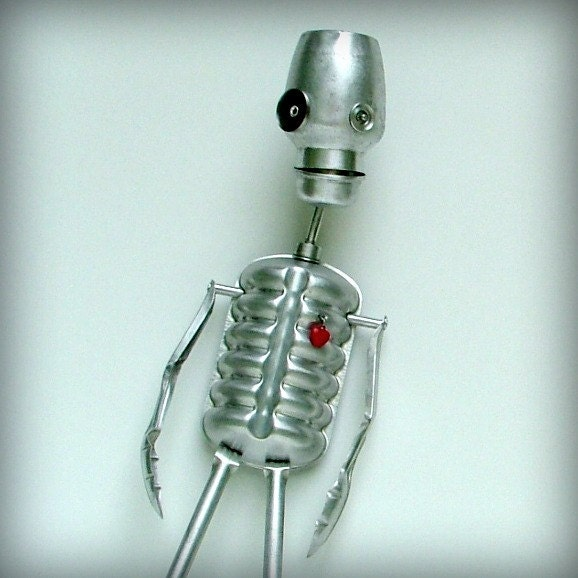 Skeleton - Robot Skeleton - recycled art assemblage
