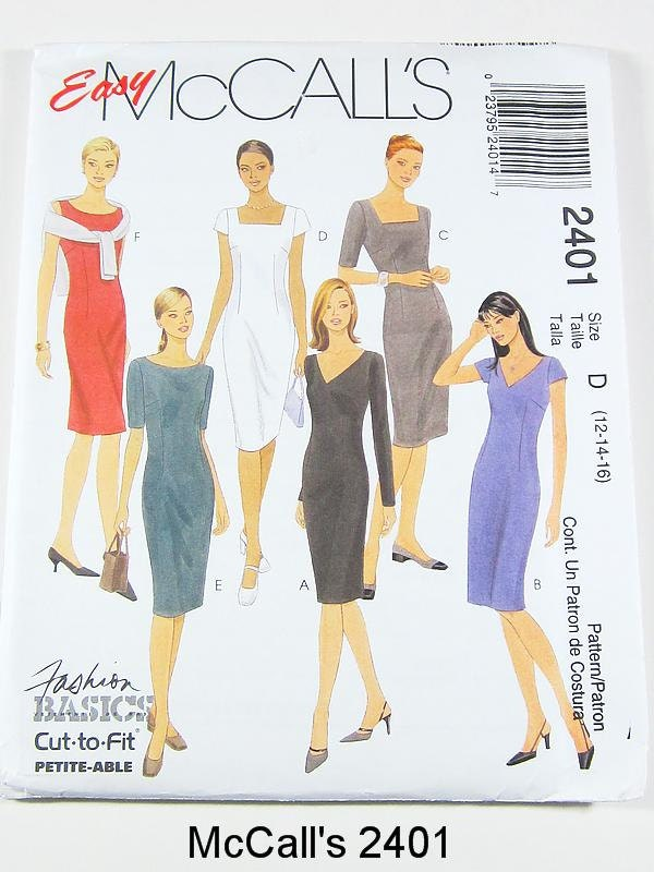McCalls 90s Dress Pattern 2401 - Misses' Sheath Dress in 6 Variations - Size 12/14/16