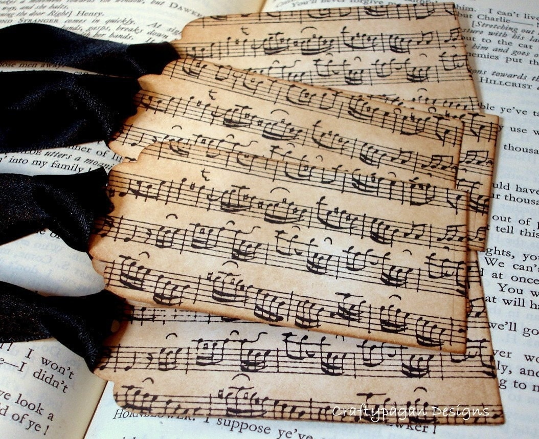 Music Notes-Handmade Vintage Style Gift Tags/Labels/Hang Tags SET of 6-Ribbon Choice Available