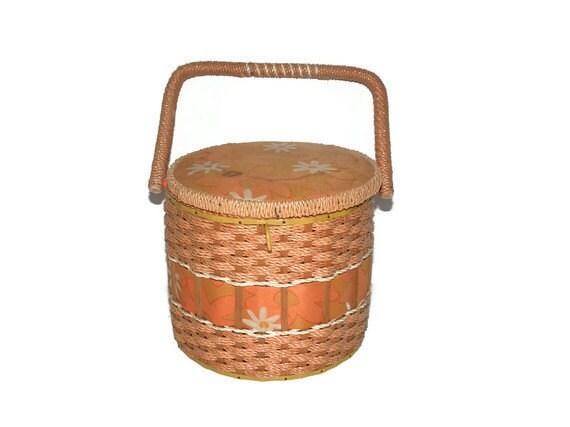 Vintage wicker sewing basket in orange and peach - TouchingThePast