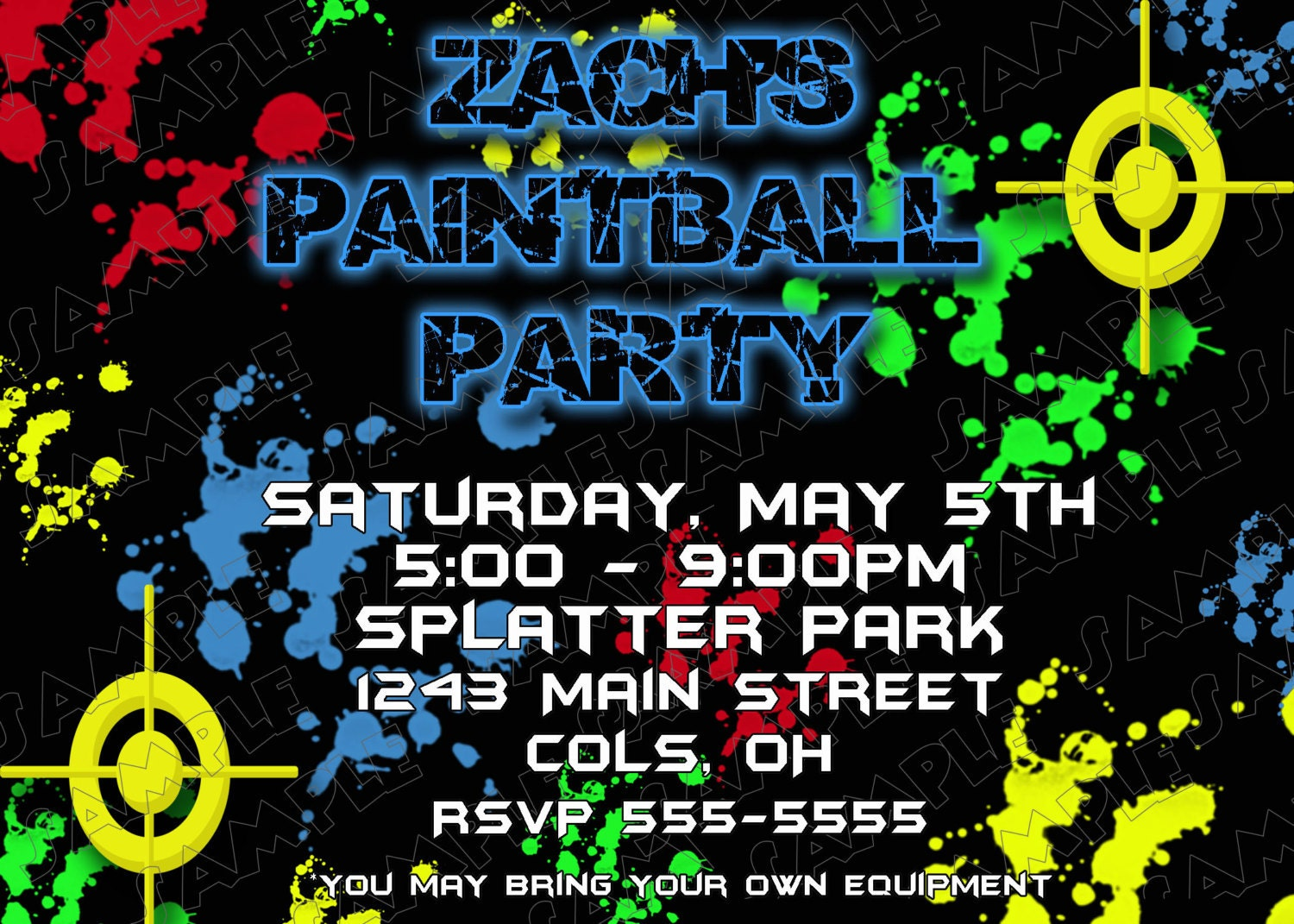 Paintball Invites