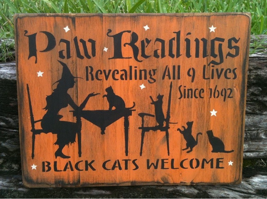 Paw Readings Black Cats Welcome OOAK Painted Handmade Primitive Halloween/Wiccan Wood Sign - MoonlightPrimitives