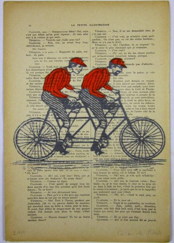 """Vintage мужчин на старинных велосипедах, оригинальные произведения искусства Mixed Media, Ручная роспись по Coco 1914 Parisien Журнал """"La Petit Иллюстрация"""" De Paris"""