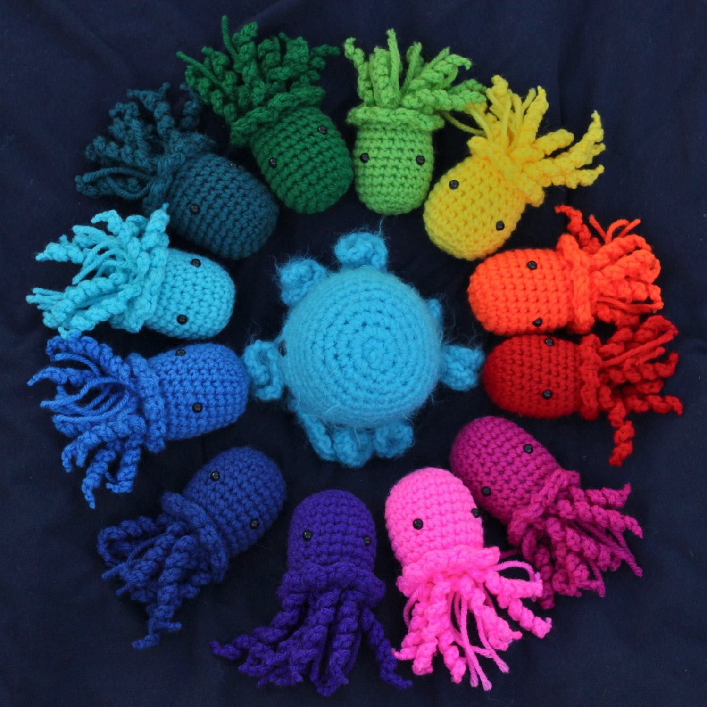Two Jellyfish Amigurumi Crochet Stuffed Animals - Choose your own colors