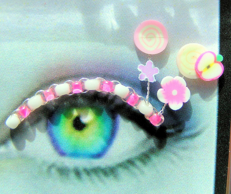 Peaches 'n' Cream Eyelash Jewelry - false eyelashes with hot pink fruit and flowers