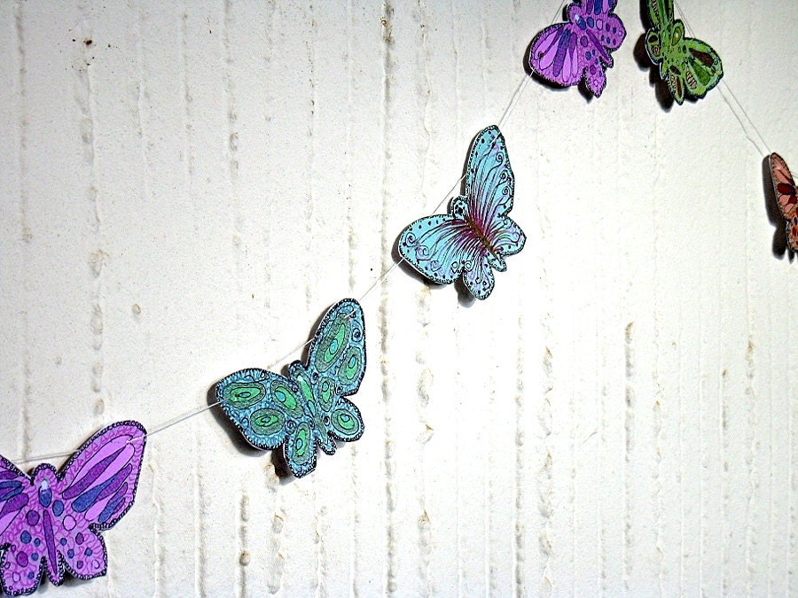 Butterfly Ornament Paper Garland Shabby Chic handmade party whimsical Home decoration-Celebrate any event
