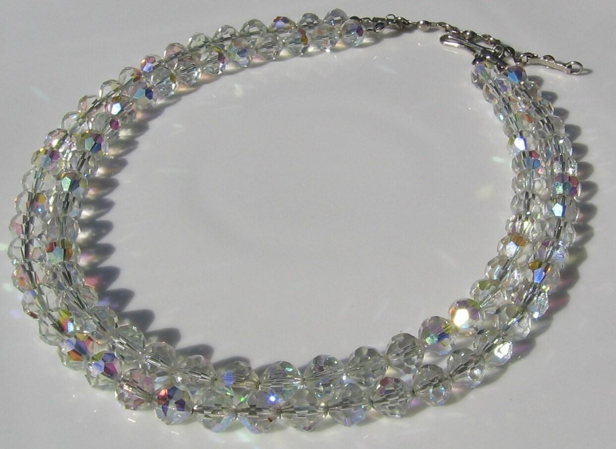 Vintage 1950 Aurora Borealis Crystal necklace