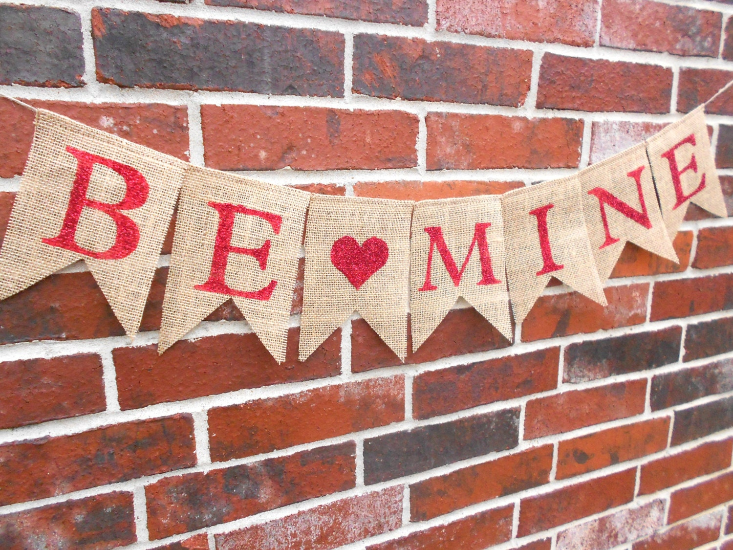 Be Mine Red Glitter Burlap Banner in for Valentines Day