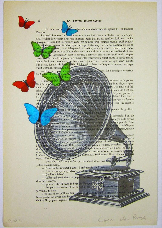 """Бабочка музыки - Original ручная роспись ARTWORK Смещаная 'La Petit Иллюстрация """"1920 известный журнал Parisien"""