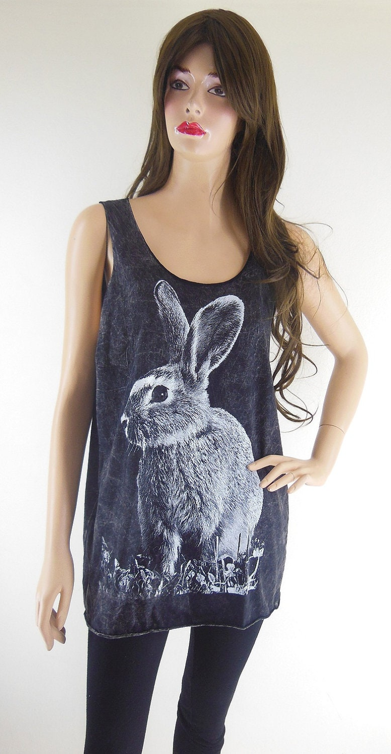 Rabbit Bunny (Size M) Animal Style Unisex T-Shirt  Rabbit Tank Top Bleach Black Tunic Screen Print Size M - sinclothing