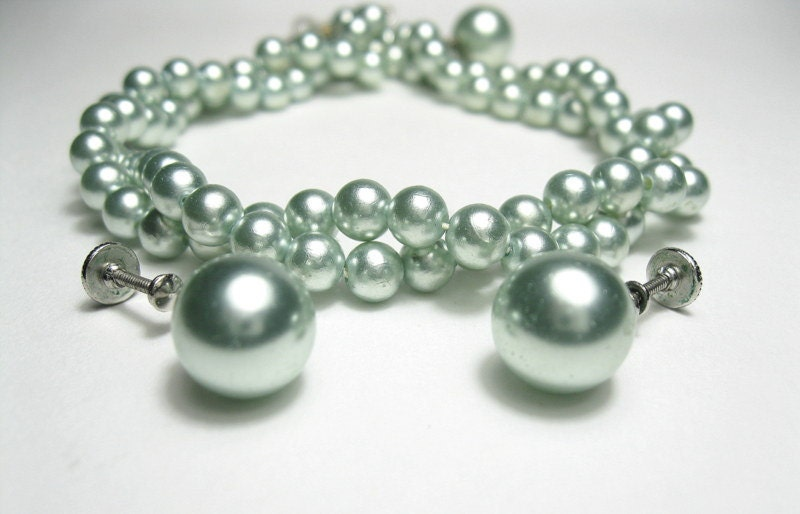 Vintage, 1940s, Pearl, Necklace, Earrings, Green
