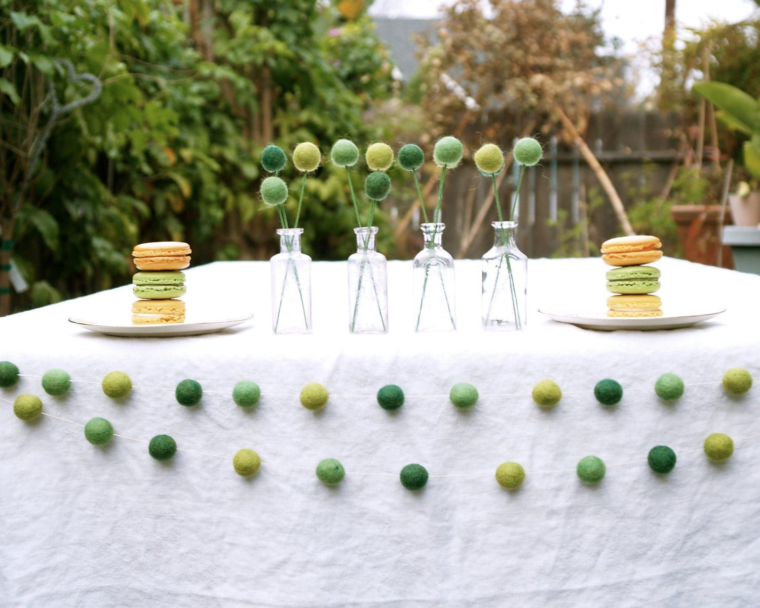 Green Garland Country Wedding Baby Shower Decorating party needle felt fun entertaining banner flag Craspedia Cake Table St Patrick Day