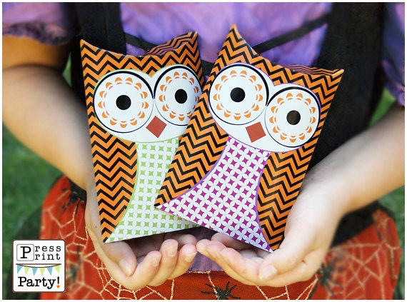 Owl Favor Pillow box - Halloween printable - DIY Party Supplies and Decorations -